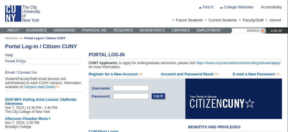 Log-in Citizen CUNY