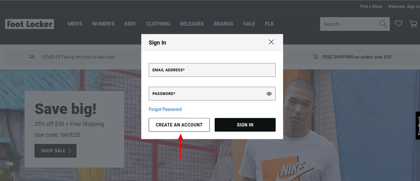 FootLocker Create Account