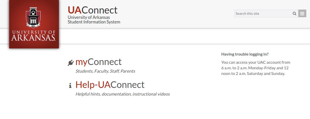 UAConnect University Login